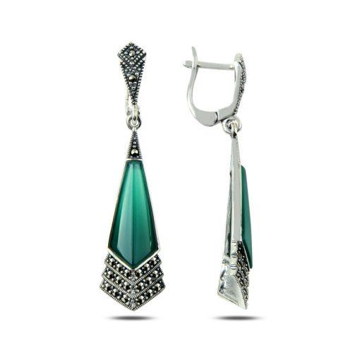 Marcasite & Gemstone Earrings - Turkish Silver Jewelry - BOW-4169