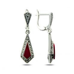 Marcasite & Gemstone Earrings - Turkish Silver Jewelry - BOW-4172