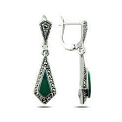 Marcasite & Gemstone Earrings - Turkish Silver Jewelry - BOW-4173