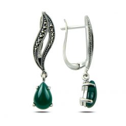 Marcasite & Gemstone Earrings - Turkish Silver Jewelry - BOW-4175