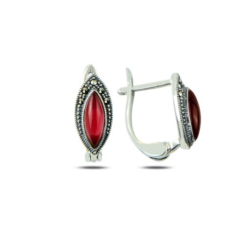 Marcasite & Gemstone Earrings - Turkish Silver Jewelry - BOW-4184