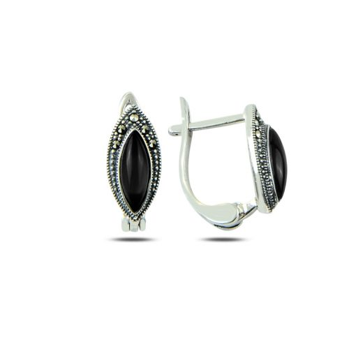 Marcasite & Gemstone Earrings - Turkish Silver Jewelry - BOW-4185