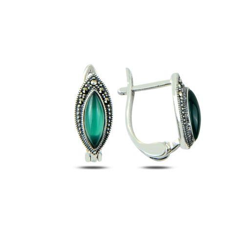 Marcasite & Gemstone Earrings - Turkish Silver Jewelry - BOW-4186