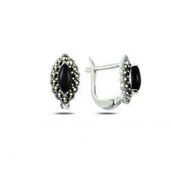 Marcasite & Gemstone Earrings - Turkish Silver Jewelry - BOW-4187