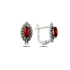 Marcasite & Gemstone Earrings - Turkish Silver Jewelry - BOW-4188