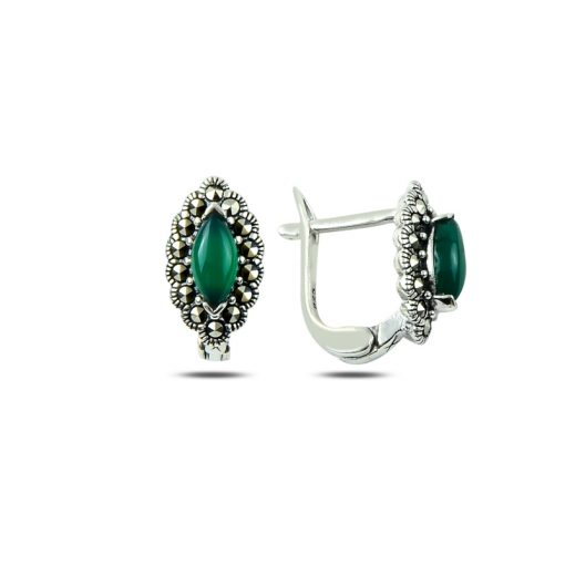 Marcasite & Gemstone Earrings - Turkish Silver Jewelry - BOW-4189