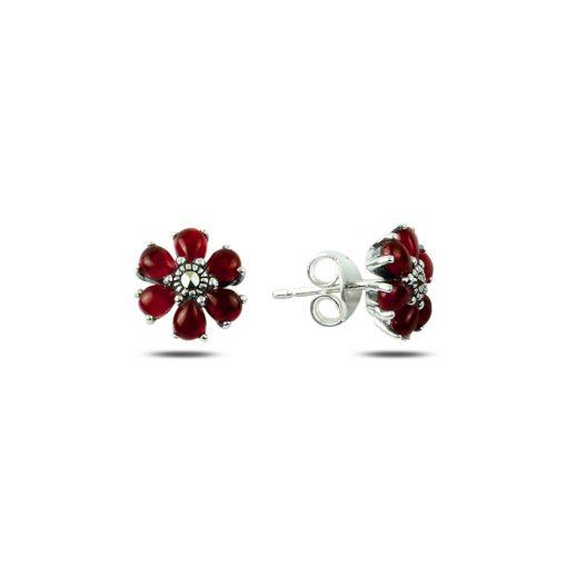 Marcasite & Gemstone Flower Earrings - Turkish Silver Jewelry - BOW-4191