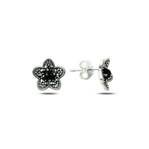 Marcasite & Gemstone Flower Earrings - Turkish Silver Jewelry - BOW-4195