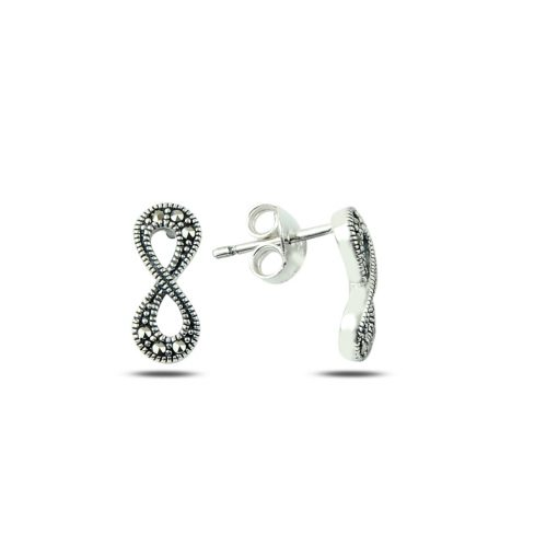 Marcasite Infinity Earrings - Turkish Silver Jewelry - BOW-4197