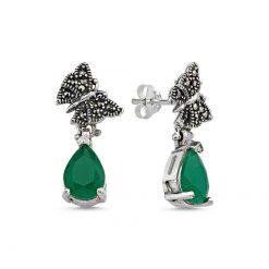Marcasite & Pear Cut Swarovski Butterfly Earrings - Turkish Silver Jewelry - BOW-4198