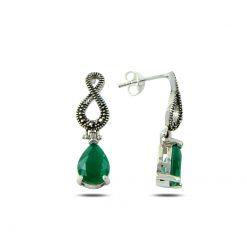 Marcasite & Pear Cut Swarovski Infinity Earrings - Turkish Silver Jewelry - BOW-4180