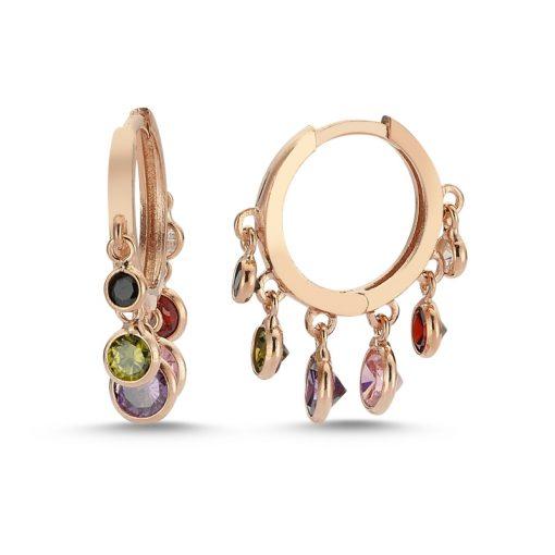 Multicolor Swarovski Charm Earrings - Turkish Silver Jewelry - BOW-4430
