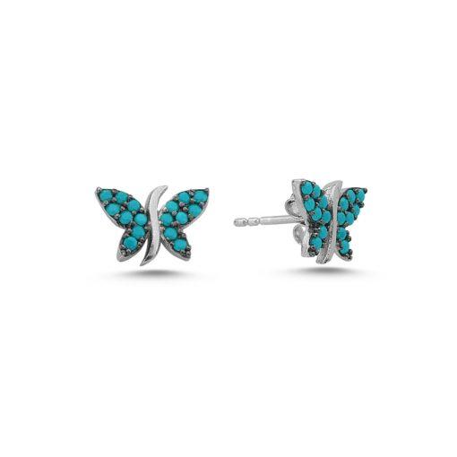 Nano Swarovski Butterfly Stud Earrings - Turkish Silver Jewelry - BOW-4575