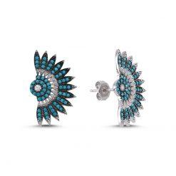 Nano Swarovski Folding Fan Design Earrings - Turkish Silver Jewelry - BOW-4476