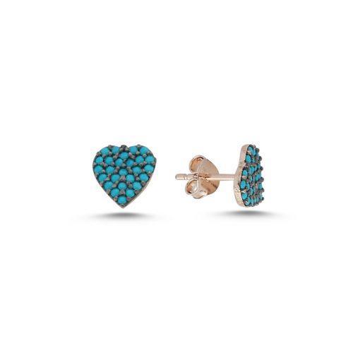Nano Swarovski Heart Stud Earrings - Turkish Silver Jewelry - BOW-4571