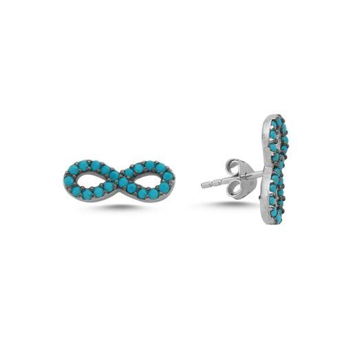 Nano Swarovski Infinity Stud Earrings - Turkish Silver Jewelry - BOW-4574