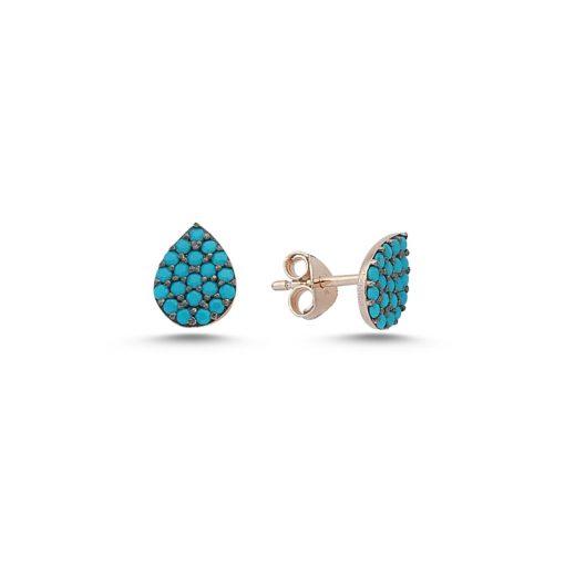 Nano Swarovski Pear Stud Earrings - Turkish Silver Jewelry - BOW-4572