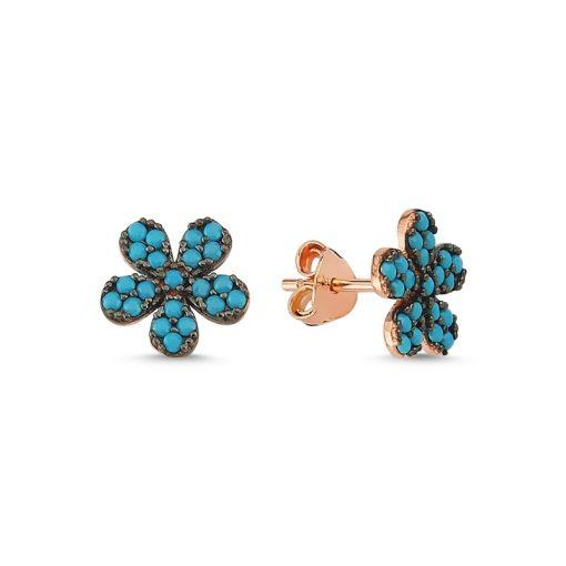 Nano Turquoise Daisy Stud Earrings - Turkish Silver Jewelry - BOW-4601