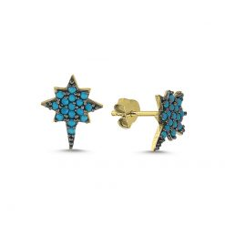 Nano Turquoise North Star Stud Earrings - Turkish Silver Jewelry - BOW-4600