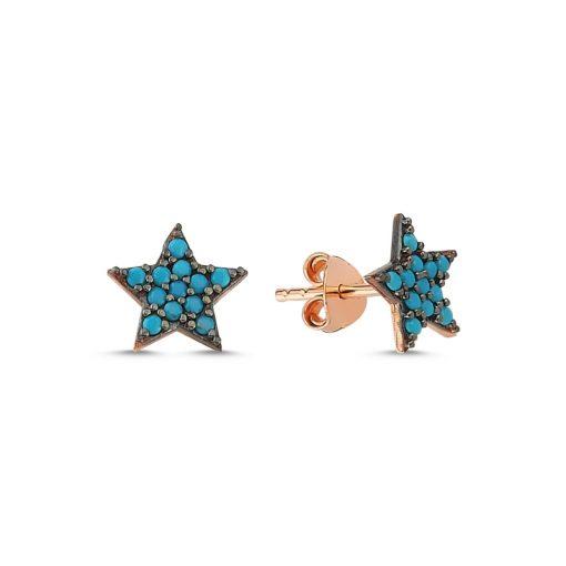 Nano Turquoise Star Stud Earrings - Turkish Silver Jewelry - BOW-4602