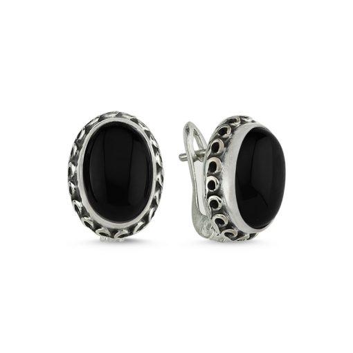 Onyx Stone Handmade Earrings - Turkish Silver Jewelry - BOW-4034