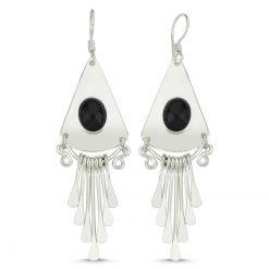 Onyx Stone Handmade Earrings - Turkish Silver Jewelry - BOW-4065