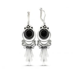 Onyx Stone Handmade Earrings - Turkish Silver Jewelry - BOW-4083