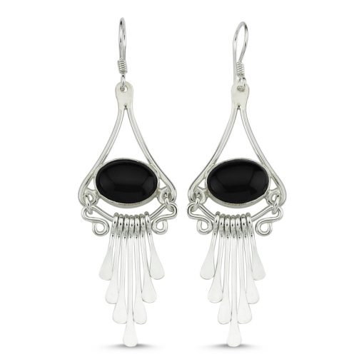 Onyx Stone Handmade Earrings - Turkish Silver Jewelry - BOW-4100