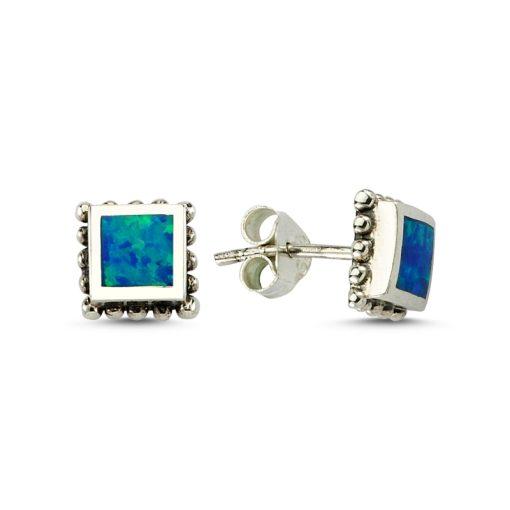 Opal Earrings - Turkish Silver Jewelry - BOW-4201