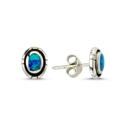Opal Earrings - Turkish Silver Jewelry - BOW-4204