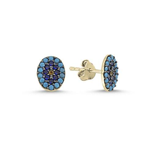 Oval Evil Eye Stud Earrings - Turkish Silver Jewelry - BOW-4628