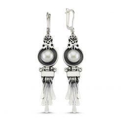 Pearl Handmade Earrings - Turkish Silver Jewelry - BOW-4068