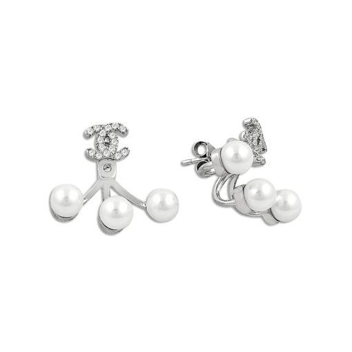 Pearl & Swarovski Double Earrings - Turkish Silver Jewelry - BOW-4391