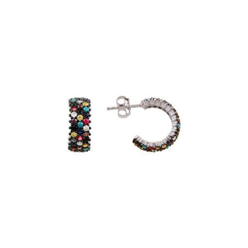 Rhodium Plated Mixed Swarovski 3 Line  Eternity Hoop Earring - Turkish Silver Jewelry - BOW-4432