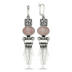 Rose Quartz Handmade Earrings - Turkish Silver Jewelry - BOW-4059