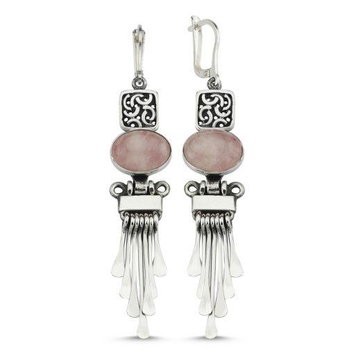 Rose Quartz Handmade Earrings - Turkish Silver Jewelry - BOW-4059