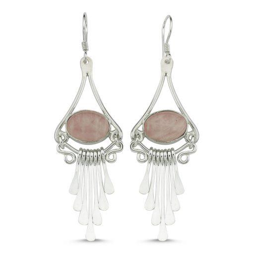 Rose Quartz Handmade Earrings - Turkish Silver Jewelry - BOW-4104