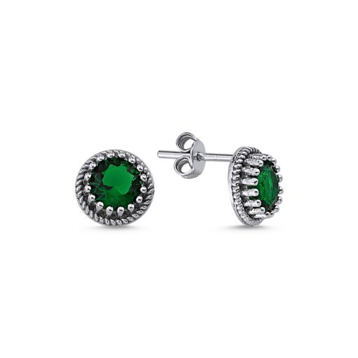 Round Cut Swarovski Solitaire Stud Earrings - Turkish Silver Jewelry - BOW-4417