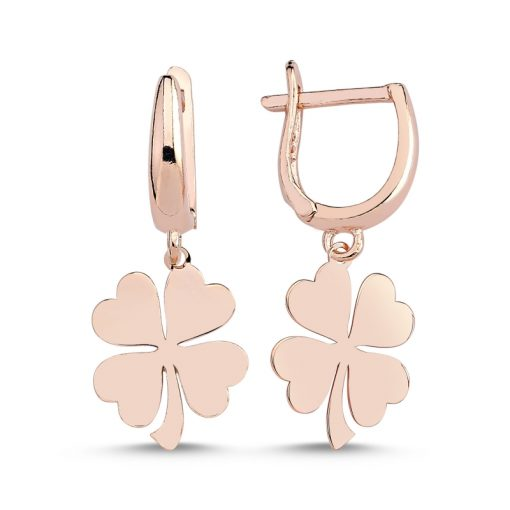 Stoneless Clover Charm Earrings - Turkish Silver Jewelry - BOW-4270