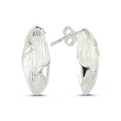 Stoneless Earrings - Turkish Silver Jewelry - BOW-4247