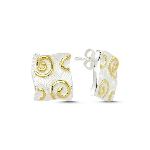 Stoneless Earrings - Turkish Silver Jewelry - BOW-4250