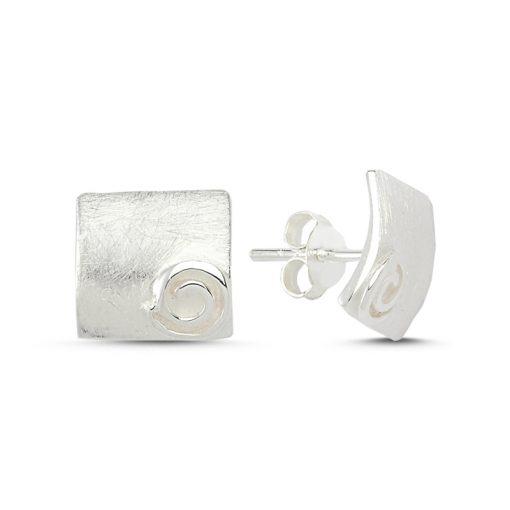 Stoneless Earrings - Turkish Silver Jewelry - BOW-4252