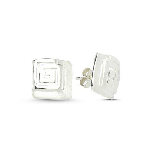 Stoneless Earrings - Turkish Silver Jewelry - BOW-4256