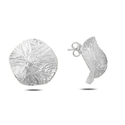 Stoneless Earrings - Turkish Silver Jewelry - BOW-4324