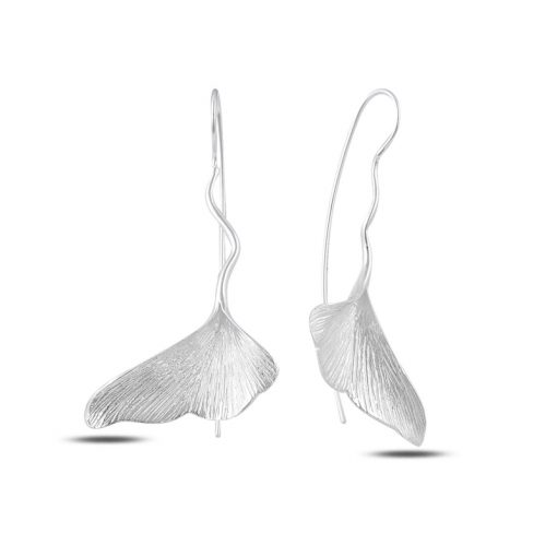 Stoneless Japanese Fish Tail Earrings - Turkish Silver Jewelry - BOW-4285