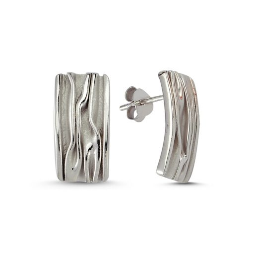 Stoneless Rectangle Earrings - Turkish Silver Jewelry - BOW-4241