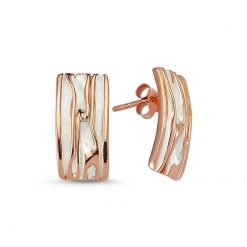 Stoneless Rectangle Earrings - Turkish Silver Jewelry - BOW-4245