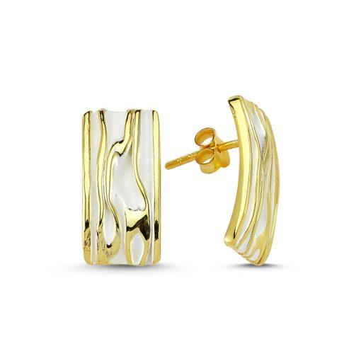 Stoneless Rectangle Earrings - Turkish Silver Jewelry - BOW-4246