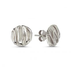 Stoneless Round Earring - Turkish Silver Jewelry - BOW-4236