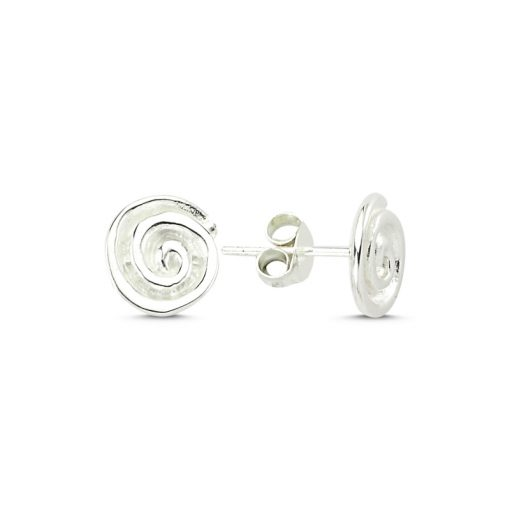 Stoneless Round Earrings - Turkish Silver Jewelry - BOW-4251